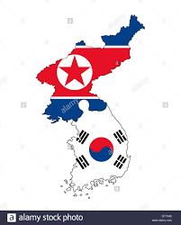 Flag Of South Korea North Korean And South Korean Map Flag Banner Country Border Stock