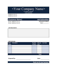 estimate templates for word 11 job estimate templates and work quotes excel word