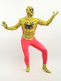 halloween full body suit halloween yellow spiderman zentai suit full body lycra spandex