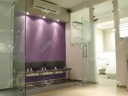 private laboratory waiting room with purple walls stock photo