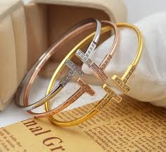 silver gold plated bracelet images Stainless steel silver bangle microscope zircon double t letter jpg