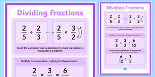 dividing fractions display poster maths numeracy display