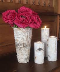 Vase Holders Rustic Birch Bark Vase And 3 Birch Bark Candle Holders Wedding