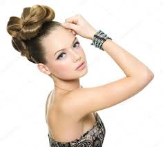 beautiful teen with modern hairstyle u2014 stock photo