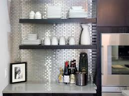 stick on backsplash for kitchen minimalist kitchen style with silver metallic glass peel stick