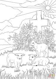 easter lambs and jesus u0027s cross coloring page free printable