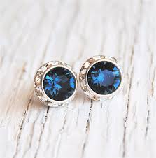 navy blue bridesmaid stud earrings swarovski montana