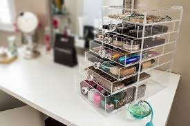 amazon com cutie cube luxe acrylic makeup organizer clear