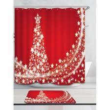 Snowflake Curtains Christmas Christmas Stars Tree Pattern Waterproof Shower Curtain Red W