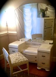 art deco waterfall vanity mirror and chair white annie sloan