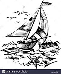 sailing boat vector sketch isolated stock vector art