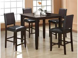 espresso counter high dining table w 4 bicast leather upholstered