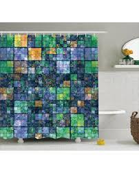 shower curtain mosaic geometric design print for bathroom