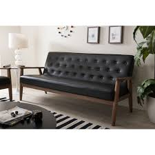 Black Tufted Sofa by New Modern Mid Century Black Leather Tufted Sofa Couch With Solid