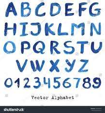 alphabet blue colors watercolor paint vectornumbers stock vector