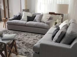 plush sofa 2 seater lounge set deep seater grey fabric