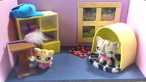 how to make a cute bedroom for an lps cat doll house diy youtube