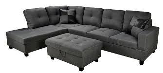 Grey Fabric Storage Ottoman Low Profile Grey Fabric Sectional Sofa W Left Arm Chaise