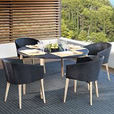 point arc outdoor dining table chair patio wicker