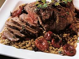 lemon and mint roast leg of lamb with flageolets recipe carrie