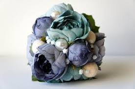 Blue Wedding Flowers Blue Peony Bridal Bouquet Silk Wedding Flowers Vintage Wedding