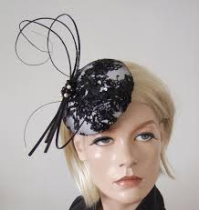 lace fascinator black white beaded lace and quills button cocktail hat headpiece