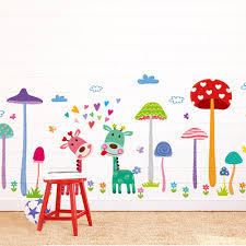 popular mushroom wall decal buy cheap mushroom wall decal lots diy cartoon mushroom forest wall stickers for kids rooms home decor vinyl wall decal poster wall