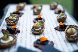 canap ap o black pudding and quail egg scotch eggs and venison and bilberry