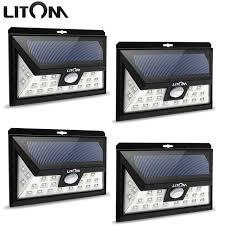 litom solar lights outdoor litom 24 led solar light ip65 waterproof wide angle security motion