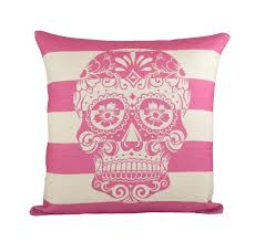 pink skull pillow cover day of the dead sugar skull throw pillow