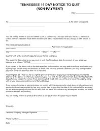 tennessee 14 day notice to quit form non payment eforms u2013 free