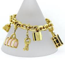 gold bracelet with charms images Estate louis vuitton padlock key keep all charm bracelet 6 JPG