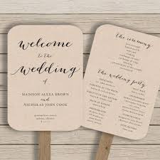 ceremony fans wedding program fan template printable rustic wedding fan