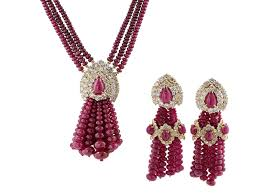 diamond ruby necklace sets images Ruby and diamond tassel earrings and necklace set in 502739 jpg