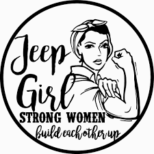 jeep cartoon drawing jeep strong women build each other up circled design