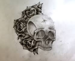 rose n skull tattoo design photos pictures and sketches