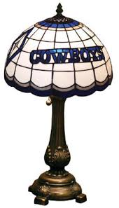 cowboys stained glass table lamp