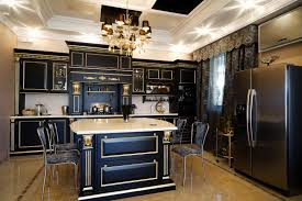incredible black carving cabinet in kitchen design with gold lines