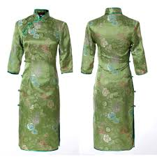 jacquard woven green floral silk brocade qipao chinese 3 quarter