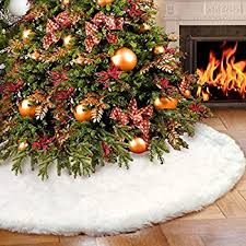 tree skirts aerwo faux fur christmas tree skirt 48 inches snowy