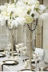 amazing white table for great gatsby party decorations with