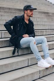 Ripped Denim Jeans For Men White Ripped Skinny Jeans For Men Men S Clothing Pinterest