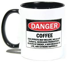 unique coffee tea mug with funny warning label cool two tone