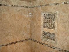 linear brick slate u0026 glass mosaic accent showers pinterest
