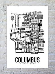 Columbus Ohio Map Columbus Ohio Street Map Print Street Posters