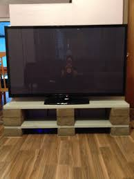 How To Build Wood Tv Stands Diy Tv Stand Made Out Of Cinder Blocks And Wood Supplies Cost