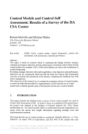 control models and control self assessment results of a survey of