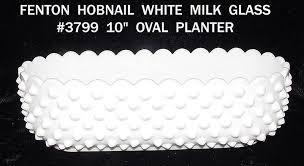 fenton white hobnail milk glass oval planter item 280719