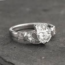 claddagh set 14k white gold diamond claddagh set