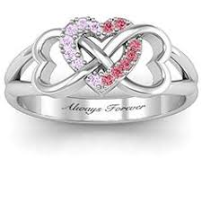mothers infinity ring sterling silver heart infinity ring with fancy blue